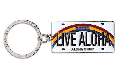 Metal License Plate Keychain, Live Aloha