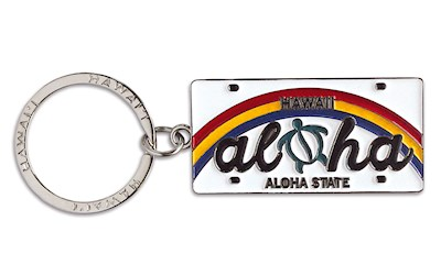 Metal License Plate Keychain, Aloha Honu