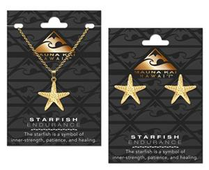 EARRING & NECKLACE SET, STAR FISH GOLD