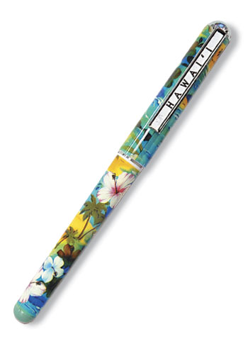 Single Rollerball Pen,- Hibiscus Palm Turquoise-