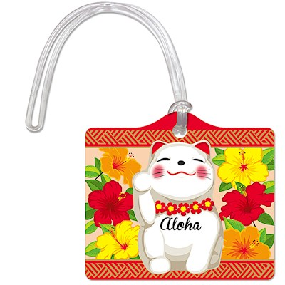 Die-Cut ID Tag, Aloha Lucky Cat