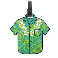 PVC ID/Luggage Tag, Aloha Shirt Green