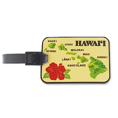 PVC ID/Luggage Tag,- Islands of Hawaii - Tan
