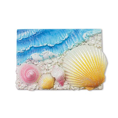 Coastal Rectangle-4 Shells Hand-Painted Resin Magnet