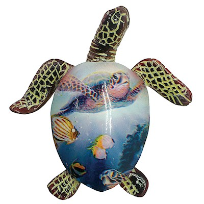 Coastal Painted Turtle Hand-Painted Resin Magnet