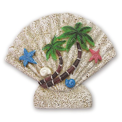 Coastal Shell Palms Hand-Painted Resin Magnet