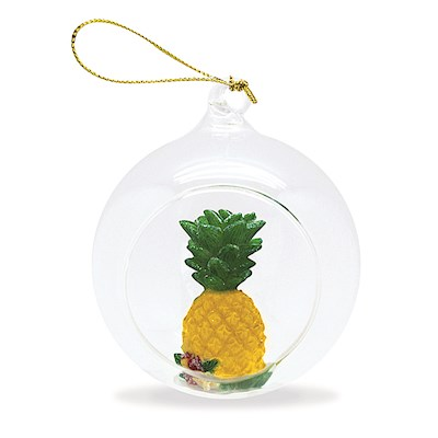 Glass Globe Ornament, Pineapple