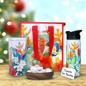 Island Garden Flask & Tote with Macadamia Nut Tea Cookies Gift Set