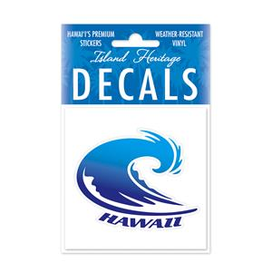 Decal Small Oblong, Hawaii Wave Blue