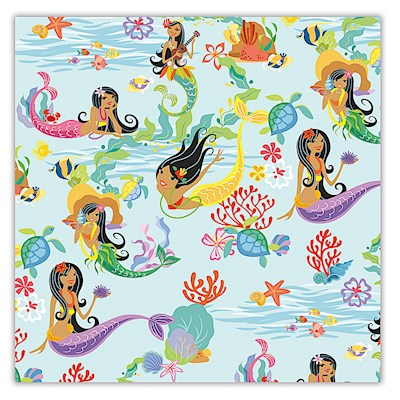 Rolled Gift Wrap - Island Hula Mermaids