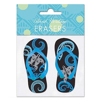 Rubber Slipper Erasers 1-pr, Tribal Honu