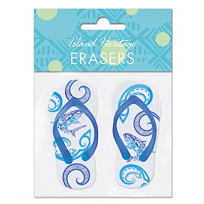 Rubber Slipper Erasers 1-pr, Tribal Shark