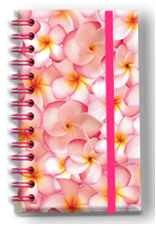 Small Notebook with Elastic Band Pink Plumerias