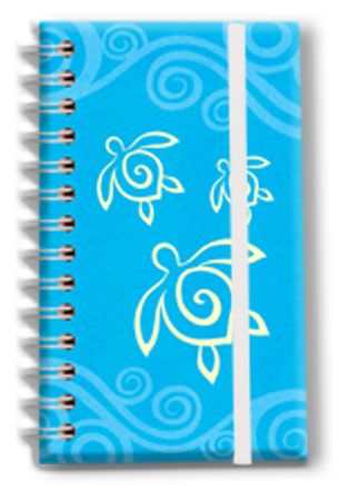 Small Notebook with Elastic Band Honu Swirl