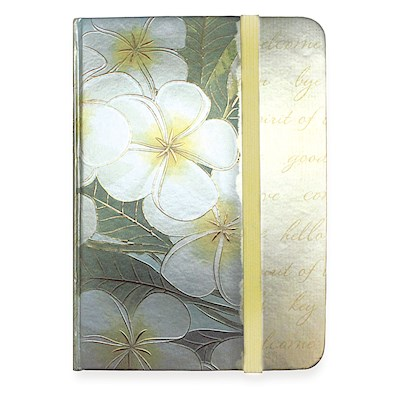Small Foil Notebook with Elastic Band Plumeria Notes