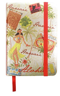 Large Foil Notebook with Elastic Band Stamped with Aloha