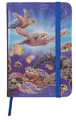 Small Foil Notebook with Elastic Band Turtles in Light