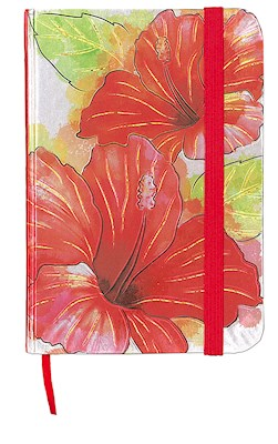Small Foil Notebook with Elastic Band Hibiscus Watercolor