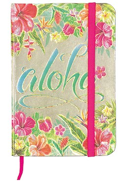 Small Foil Notebook with Elastic Band Aloha Floral