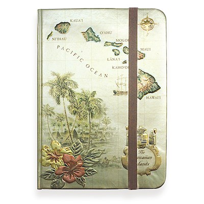 Large Foil Notebook with Elastic Band Islands of Hawaii