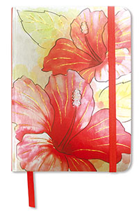 Large Foil Notebook with Elastic Band Hibiscus Watercolor