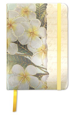 Large Foil Notebook with Elastic Band Plumeria Notes