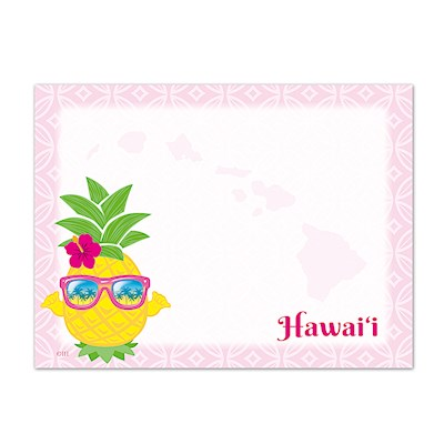 Rect. Aloha Stick'n Notes 50-sht, Pineapple Shaka