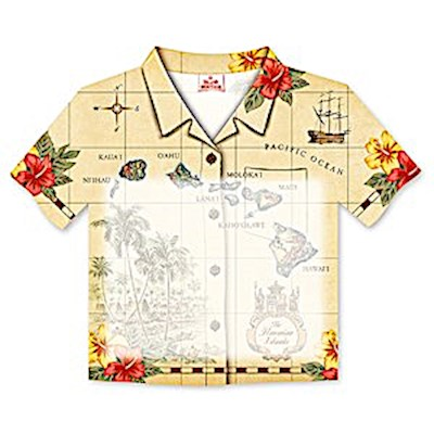 Aloha Shirt Stick n Notes Islands of Hawai'i - Tan