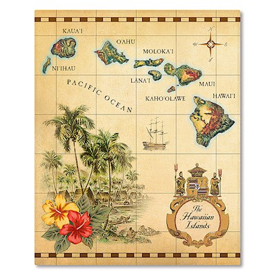 Hardcover 64-View 4x6 Photo Album, Islands of Hawaii - Tan