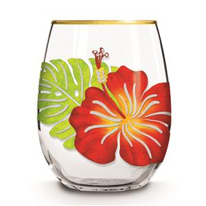Stemless Wine Glass, Floral Monstera