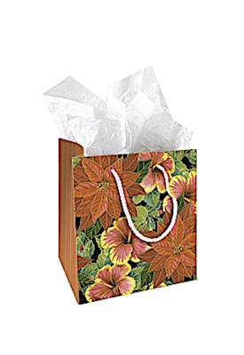 Small Gift Bag, Festive Hibiscus