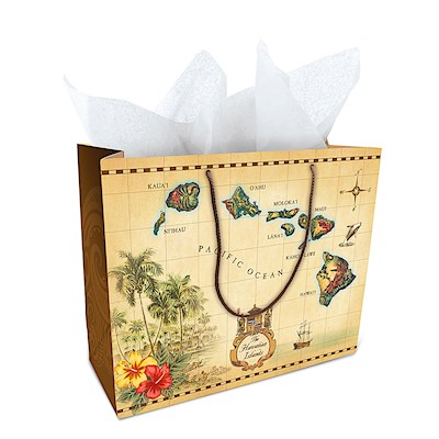 Gift Bag - Islands of Hawaii - Tan - Large