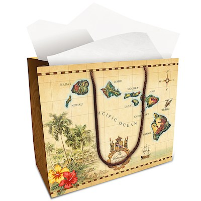 "X-Large Gift Bag, Islands of HI Tan (13"" H x 16"" W x 6"" D) *"