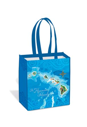 Island Tote Bag - Hawaii Map Blue