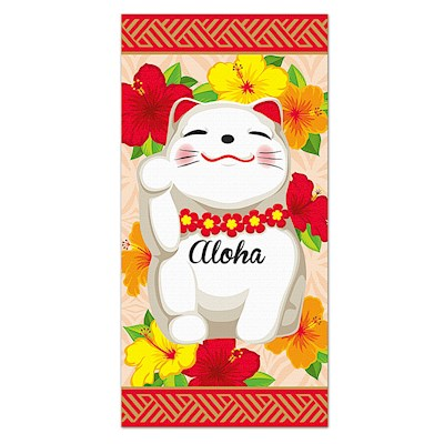 Beach Towel, Aloha Lucky Cat