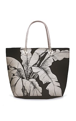 Silver Tote, Banana Leaf (Black)