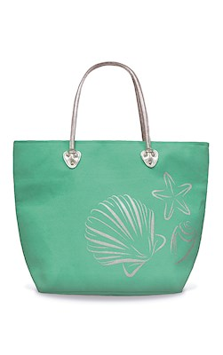 Silver Tote, Sea Shells (Aqua Green)