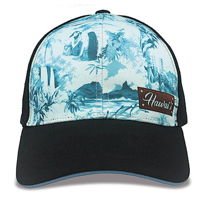 Island Cap Snap Closure, Vintage Hawaii - Blue