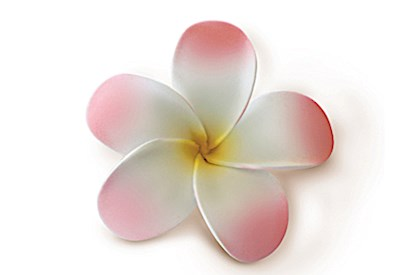 Foam Single Plumeria Clip, Pink w/ Yellow, White