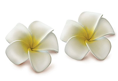 Foam Baby Plumeria Clips, White w/ Yellow 2-pk