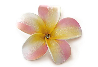 Foam Single Plumeria Clip, Pink & Yellow Bling