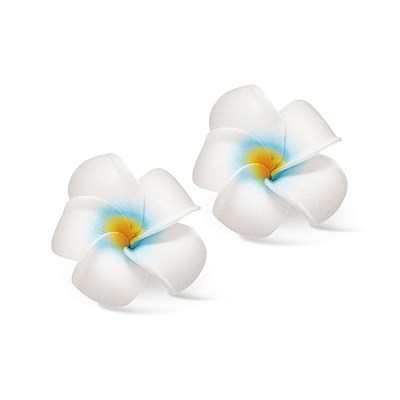 Foam Baby Plumeria Clips, White & Blue 2-pk
