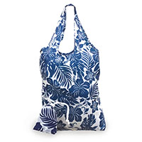 Foldable Tote, Hibiscus Floral Blue