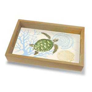 Coastal Wood Tray Small, Honu Voyage