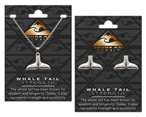 EARRING & NECKLACE SET, CHARM WHALE TAIL SILVER