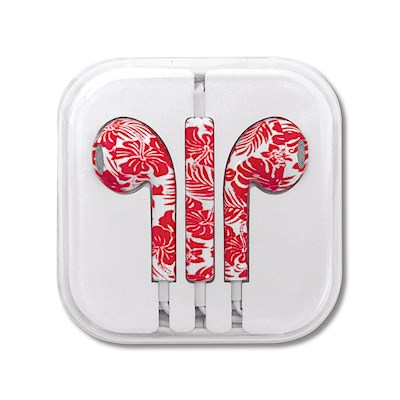 Ear Buds, Hibiscus Floral - Red