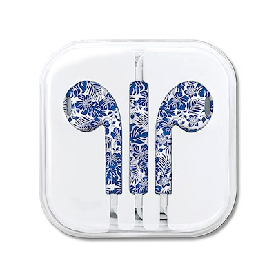 Ear Buds, Hibiscus Floral - Blue