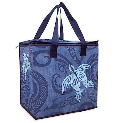 Insulated Non-Woven Shopping Tote - Tribal Honu