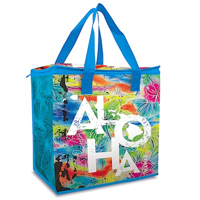 Insulated Non-Woven Shopping Tote - Tropical Aloha