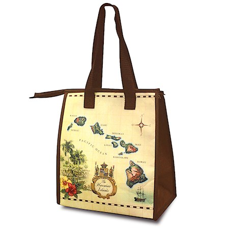INSULATED LUNCH BAG, ISLANDS OF HAWAII TAN